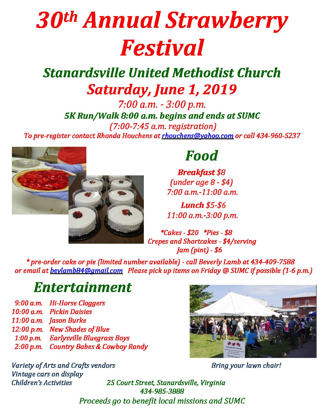 Strawberry Festival, 5K Run/Walk, Saturday June 1.