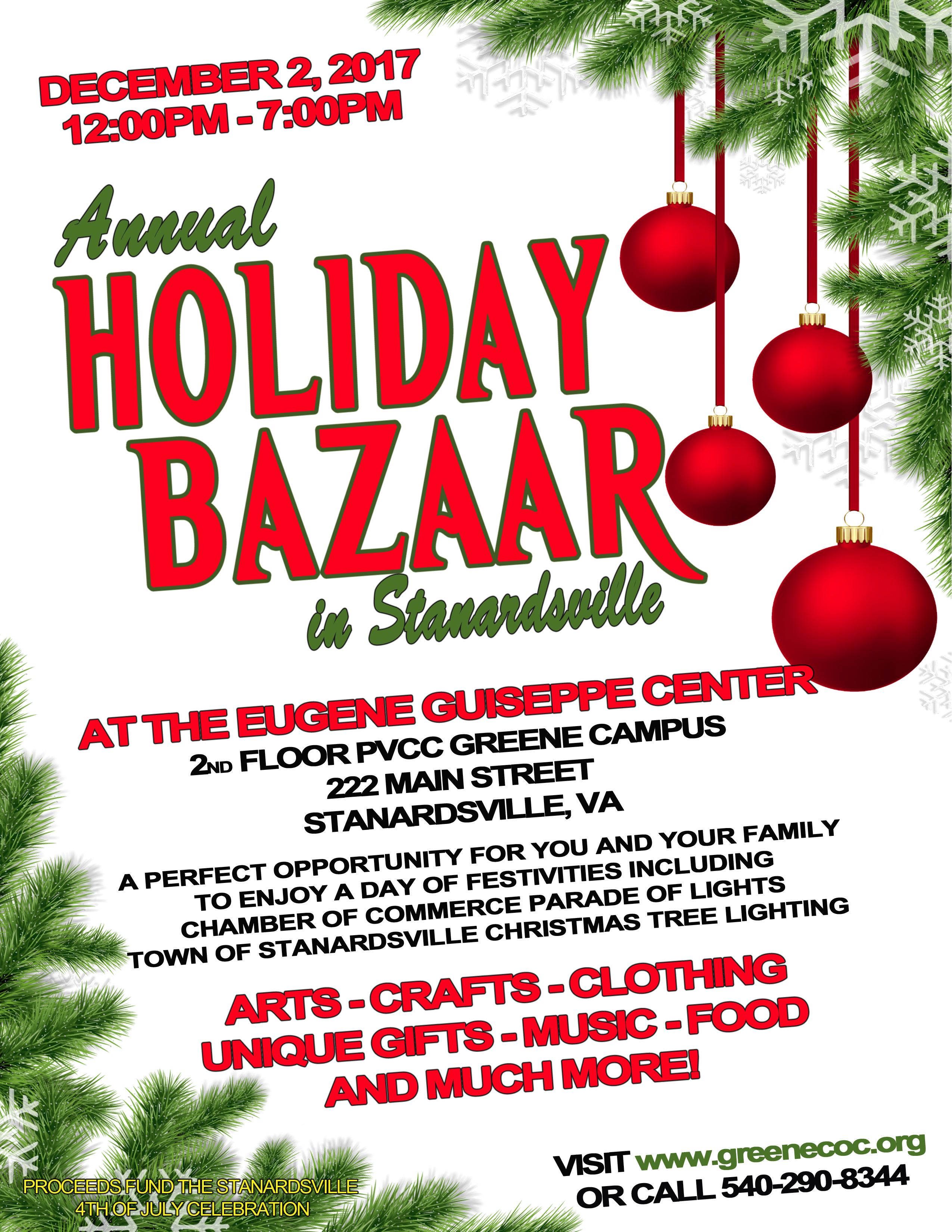 holiday bazaar december 2nd stanardsville