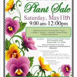 Spotswood Garden Club Plant Sale – May 11, Visitor Center